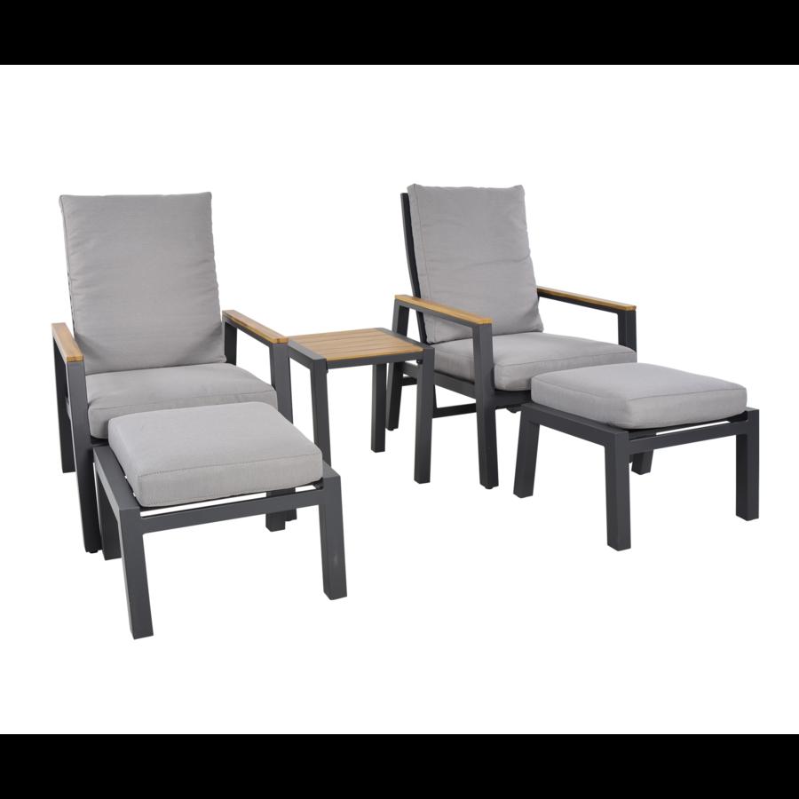 Lounge Tuinstoelen - Duoset Coda - Charcoal - Lesli Living-1