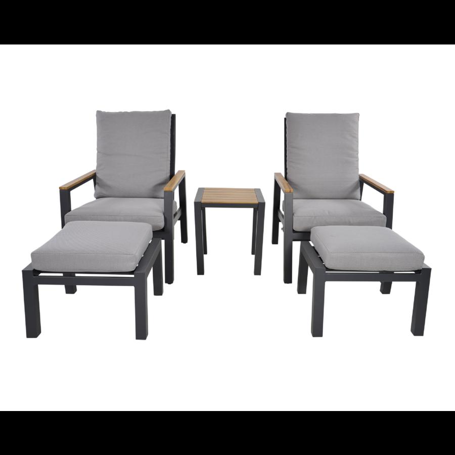 Lounge Tuinstoelen - Duoset Coda - Charcoal - Lesli Living-2