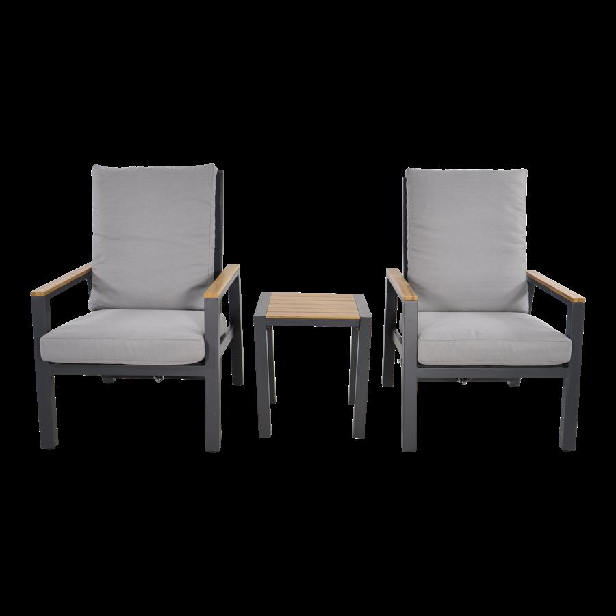 Lounge Tuinstoelen - Duoset Coda - Charcoal - Lesli Living-4