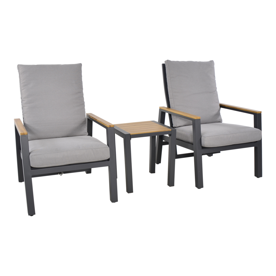 Lounge Tuinstoelen - Duoset Coda - Charcoal - Lesli Living-5