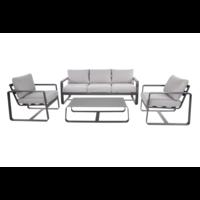 Stoel-Bank Loungeset - Belezza - Aluminium - Antraciet - Lesli Living