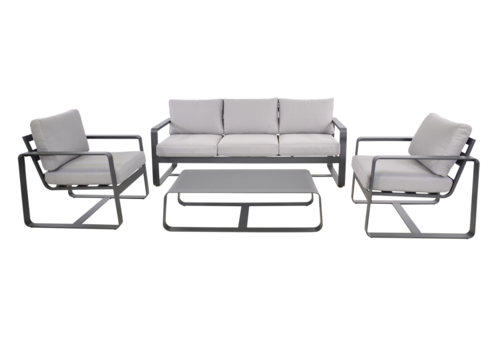 Stoel-Bank Loungeset - Belezza - Aluminium - Antraciet - Lesli Living