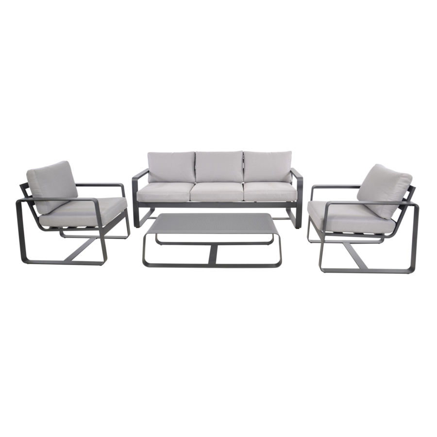 Stoel-Bank Loungeset - Belezza - Aluminium - Antraciet - Lesli Living-1