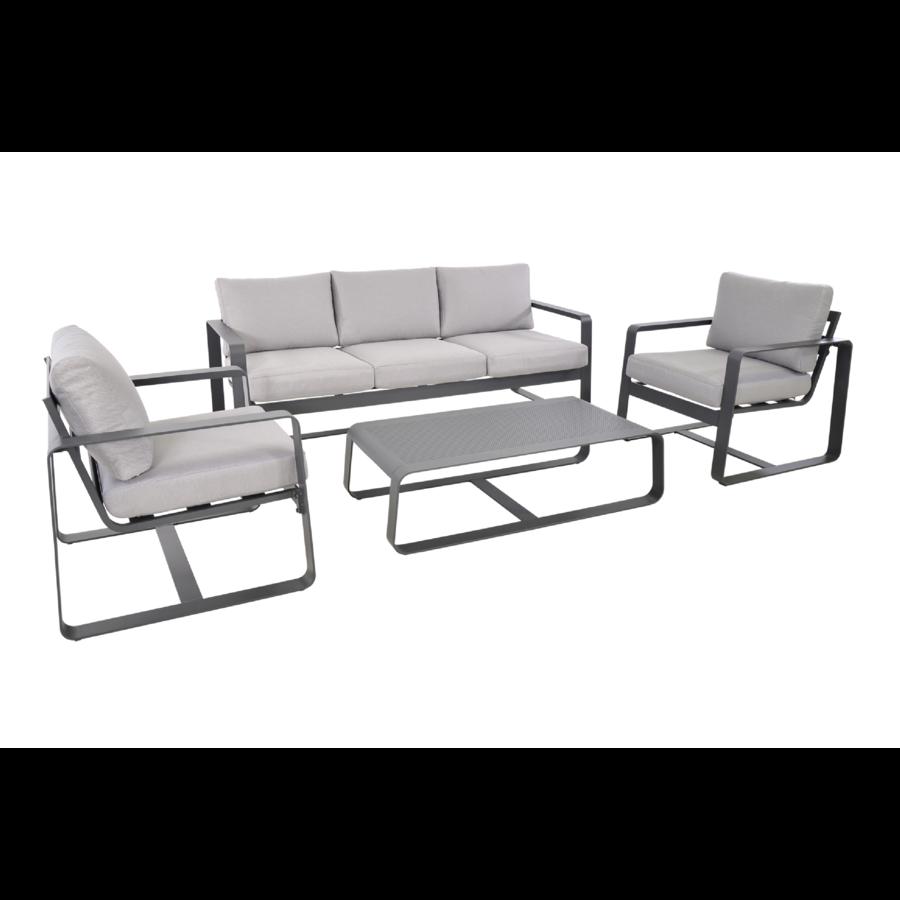 Stoel-Bank Loungeset - Belezza - Aluminium - Antraciet - Lesli Living-2