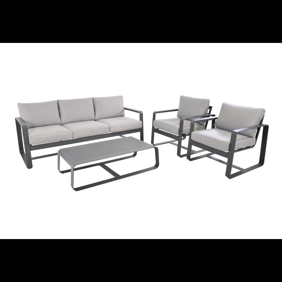 Stoel-Bank Loungeset - Belezza - Aluminium - Antraciet - Lesli Living-7