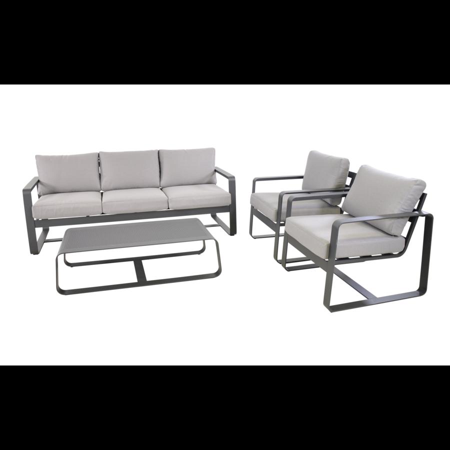 Stoel-Bank Loungeset - Belezza - Aluminium - Antraciet - Lesli Living-8