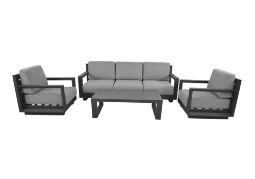 Stoel-Bank Loungeset - Giorgo - Aluminium - Antraciet - Lesli Living