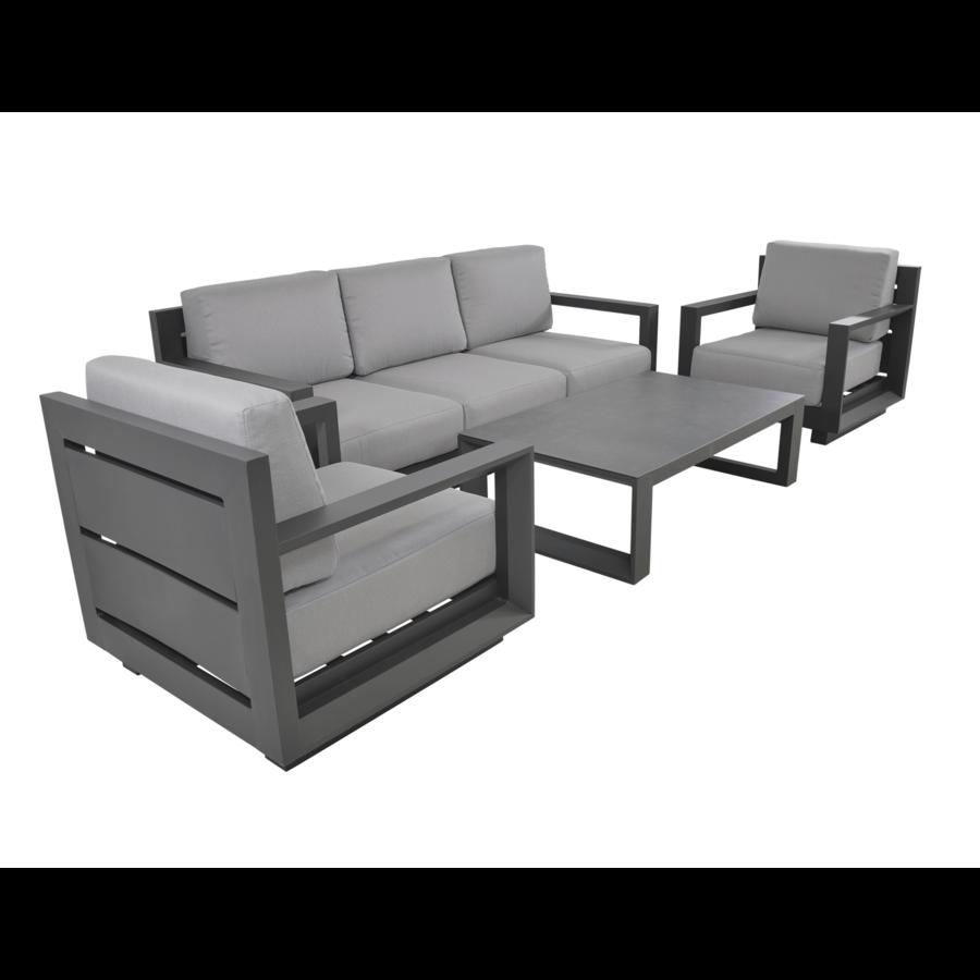 Stoel-Bank Loungeset - Giorgo - Aluminium - Antraciet - Lesli Living-2