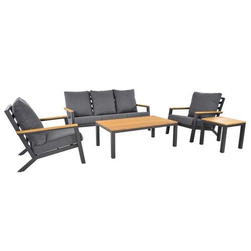 Lesli Living  Stoel-Bank Loungeset - Donnan - Aluminium / Bamboe - Lesli Living
