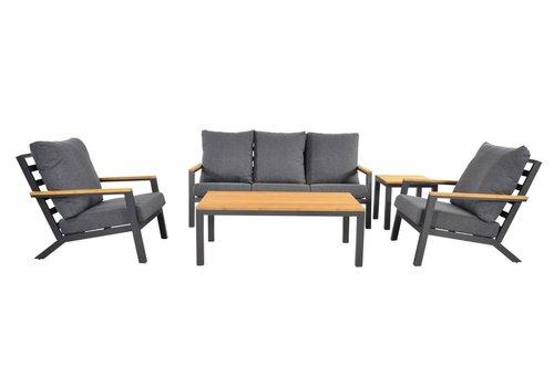 Stoel-Bank Loungeset - Donnan - Aluminium / Bamboe - Lesli Living