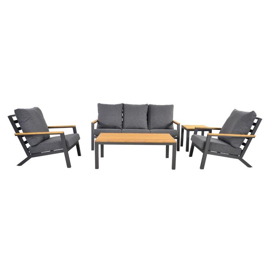 Stoel-Bank Loungeset - Donnan - Aluminium / Bamboe - Lesli Living-1