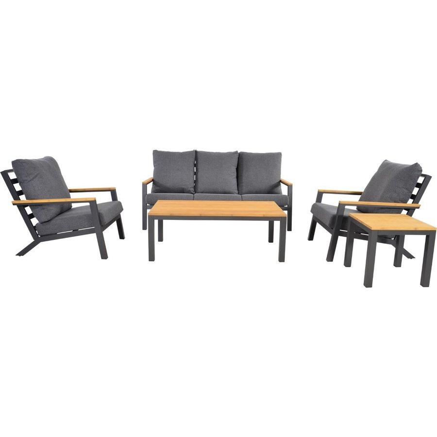 Stoel-Bank Loungeset - Donnan - Aluminium / Bamboe - Lesli Living-7