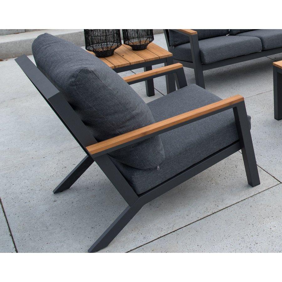Stoel-Bank Loungeset - Donnan - Aluminium / Bamboe - Lesli Living-4