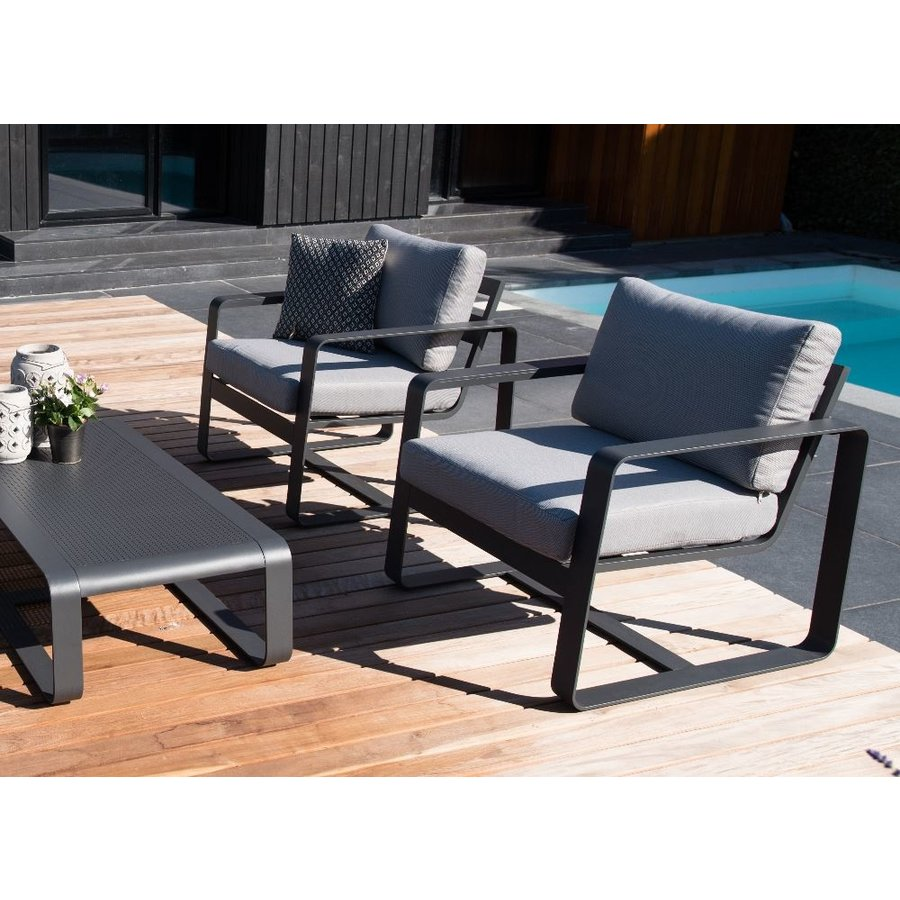 Stoel-Bank Loungeset - Belezza - Aluminium - Antraciet - Lesli Living-6
