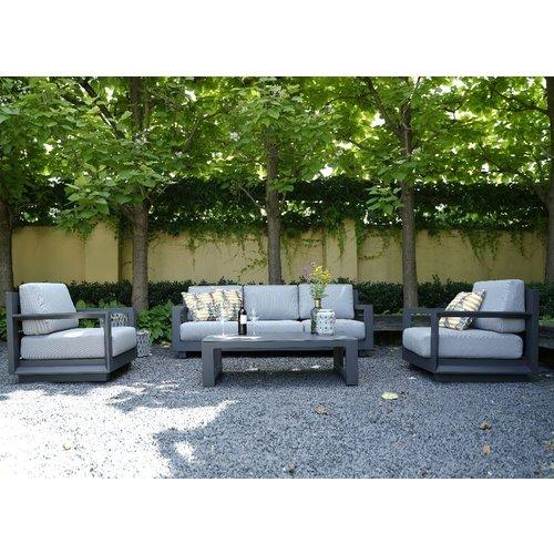 Lesli Living  Stoel-Bank Loungeset - Giorgo - Aluminium - Antraciet - Lesli Living