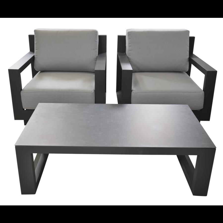 Stoel-Bank Loungeset - Giorgo - Aluminium - Antraciet - Lesli Living-8