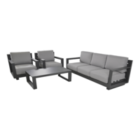 thumb-Stoel-Bank Loungeset - Giorgo - Aluminium - Antraciet - Lesli Living-7