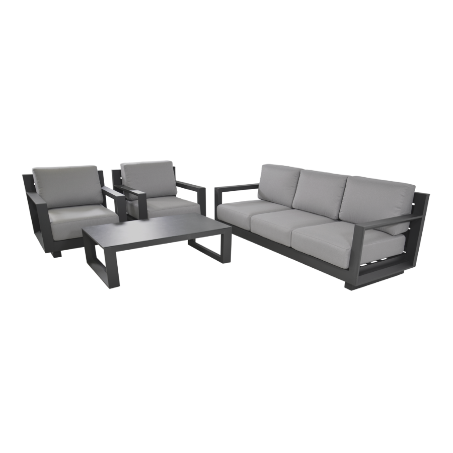 Stoel-Bank Loungeset - Giorgo - Aluminium - Antraciet - Lesli Living-7