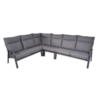 thumb-Hoek Loungeset - Ohio - Antraciet - Aluminium - Lesli Living-1