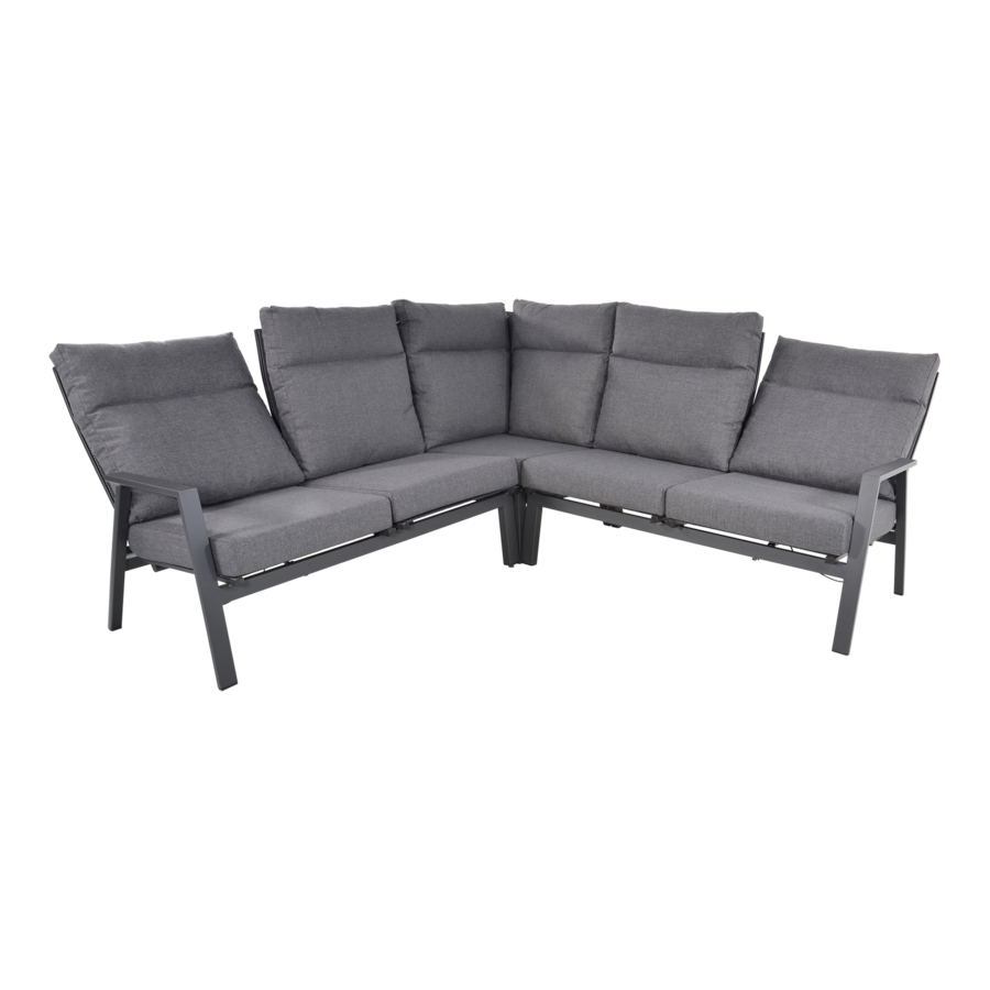 Hoek Loungeset - Ohio - Antraciet - Aluminium - Lesli Living-4
