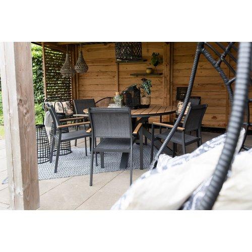 Lesli Living  Tuinstoel Stapelbaar - Arezzo - Antraciet - Lesli Living