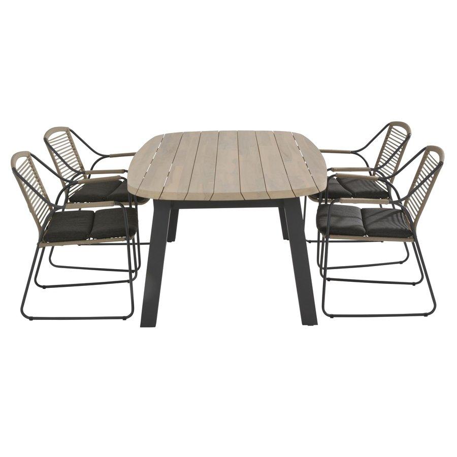 Ovale Tuintafel - Derby - Teak / Aluminium - 180x110 cm - Taste by 4SO-6