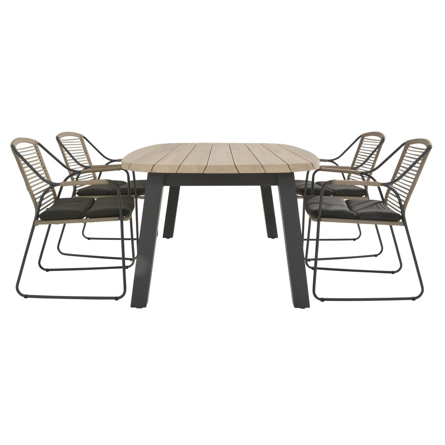 Ovale Tuintafel - Derby - Teak / Aluminium - 180x110 cm - Taste by 4SO-7