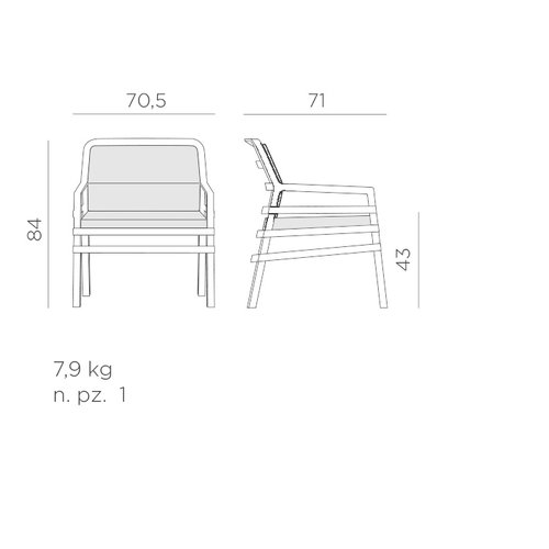 Nardi Lounge Tuinstoel - Aria Fit - Tortora - Grijs - Sunbrella - Nardi