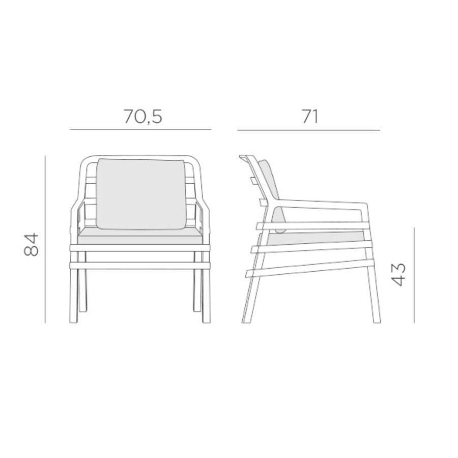 Lounge Tuinstoel - Aria - Tortora - Grijs - Nardi-8