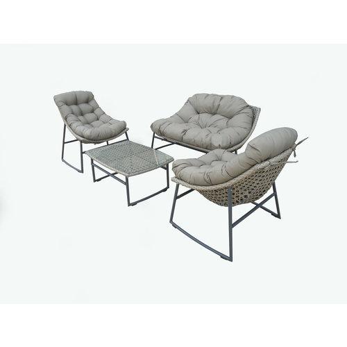 Garden Interiors Stoel-Bank Loungeset - Piemont - Taupe - Wicker - Garden Interiors