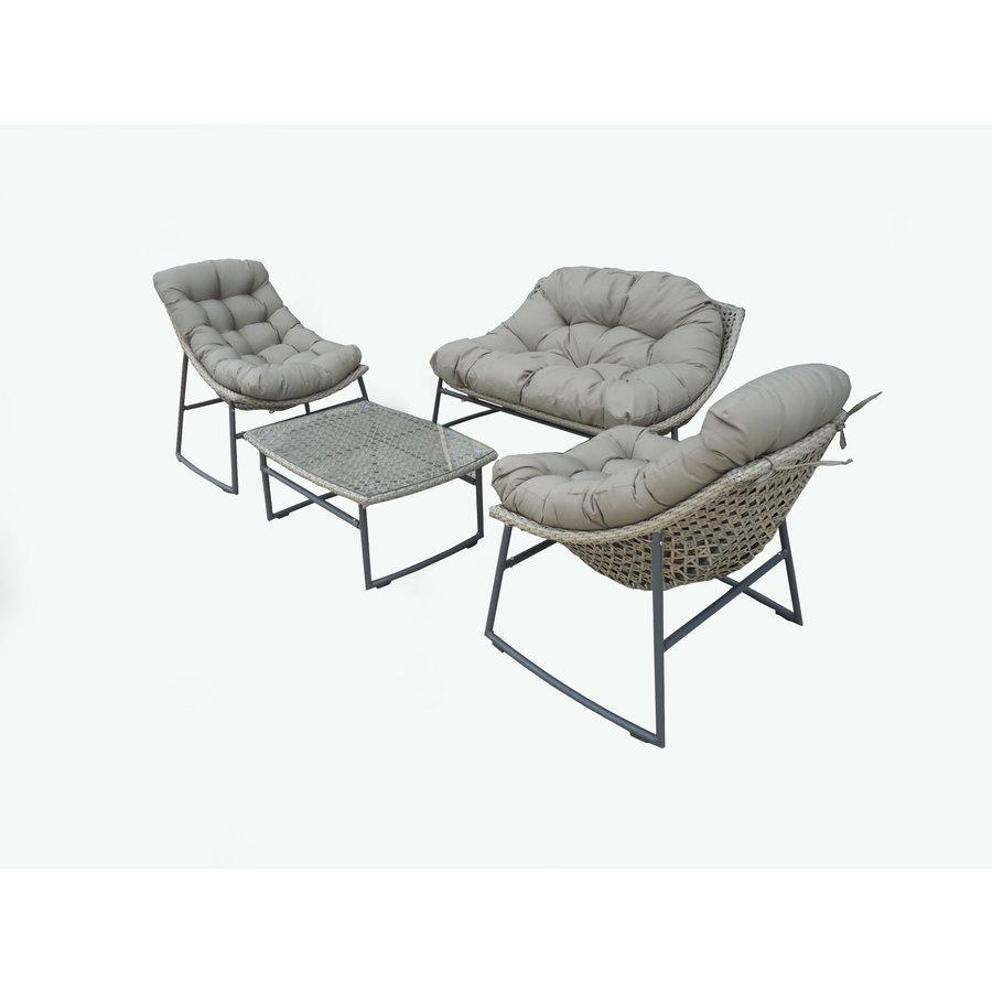 Stoel-Bank Loungeset - Piemont - Taupe - Wicker - Garden Interiors-3
