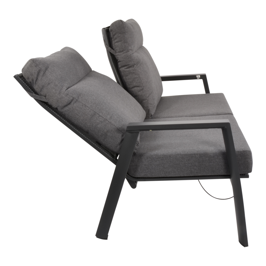 Lounge Tuinbank – Ohio – 3-Zits - Antraciet - Aluminium – Lesli Living-2