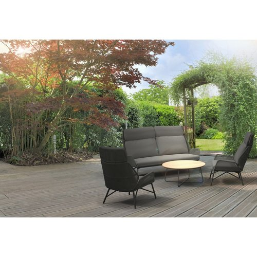 4 Seasons Outdoor Lounge Tuinstoel - Carthago - Frozen Grey - Rope/Teak - 4 Seasons Outdoor