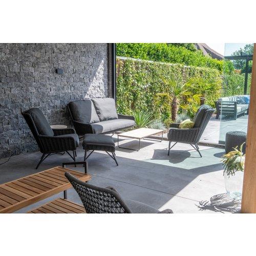 4 Seasons Outdoor Voetenbank - Wing - Antraciet - Rope/RVS - 4 Seasons Outdoor