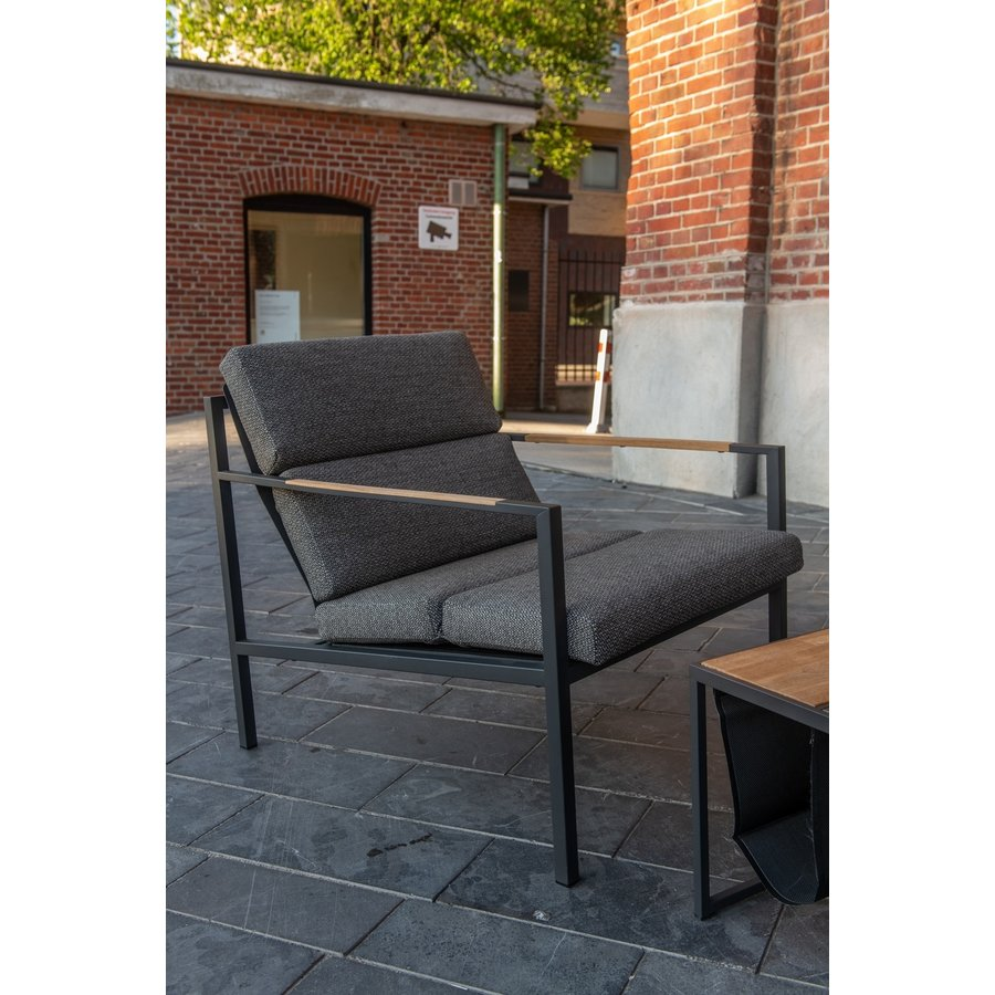 Lounge Tuinstoel - Trentino - Grijs - RVS/Teak - 4 Seasons Outdoor-6