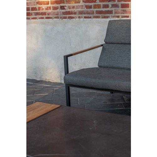 4 Seasons Outdoor Lounge Tuinstoel - Trentino - Grijs - RVS/Teak - 4 Seasons Outdoor