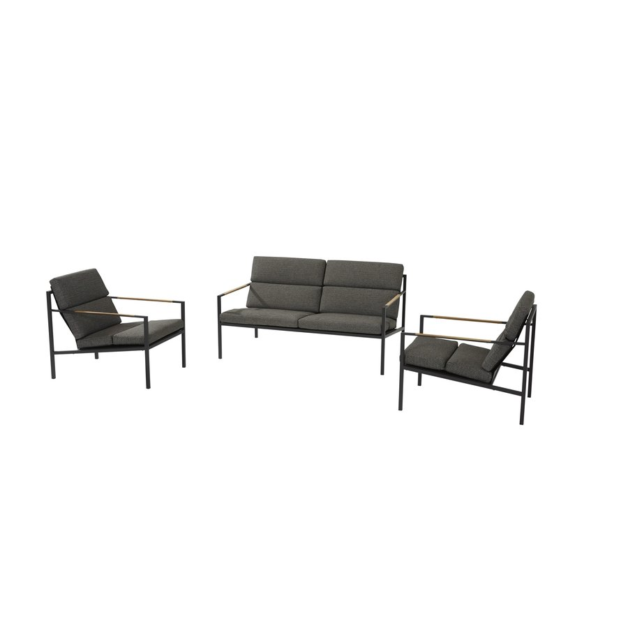 Stoel-Bank Loungeset  - Trentino - Grijs - RVS/Teak - 4 Seasons Outdoor-2