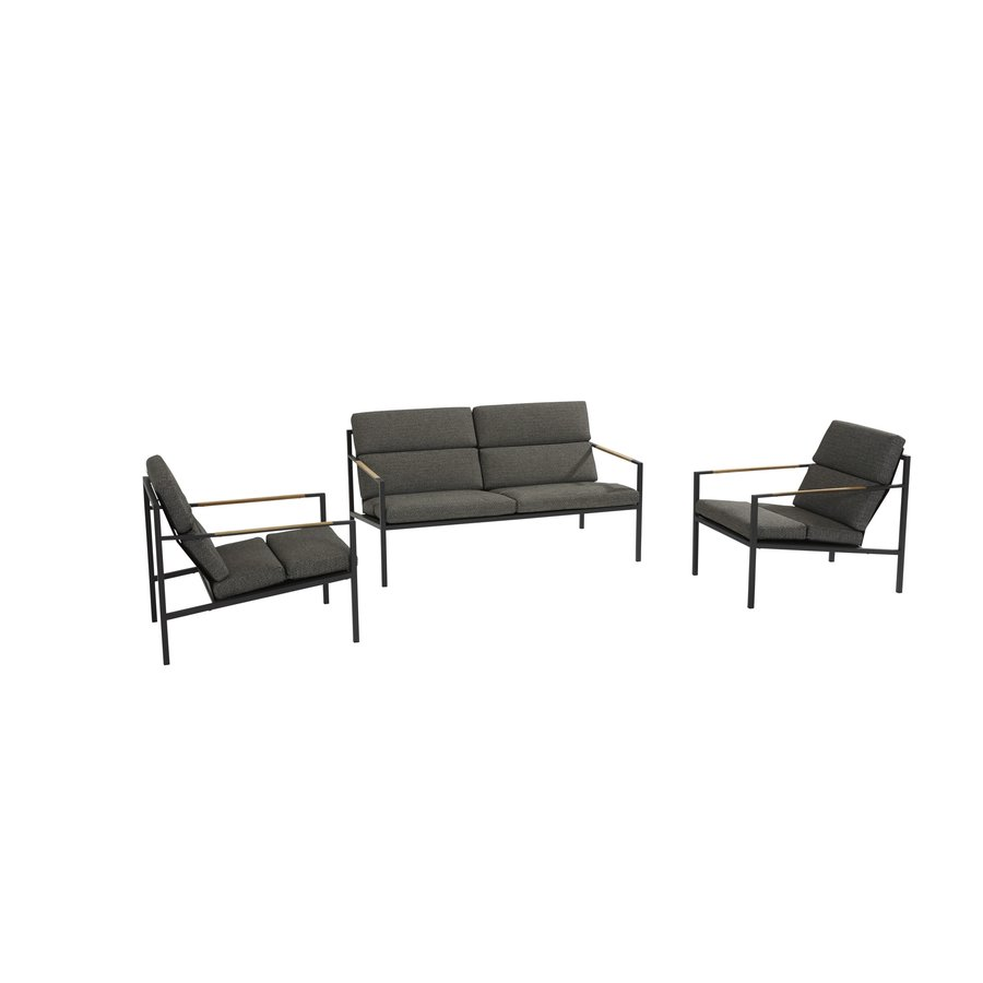 Stoel-Bank Loungeset  - Trentino - Grijs - RVS/Teak - 4 Seasons Outdoor-1