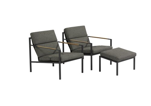 Duo Loungeset  - Trentino - Grijs - RVS/Teak - 4 Seasons Outdoor