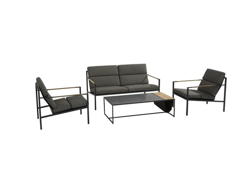 Stoel-Bank Loungeset  - Trentino - Grijs/Antraciet - RVS/Teak/Keramiek - 4 Seasons Outdoor