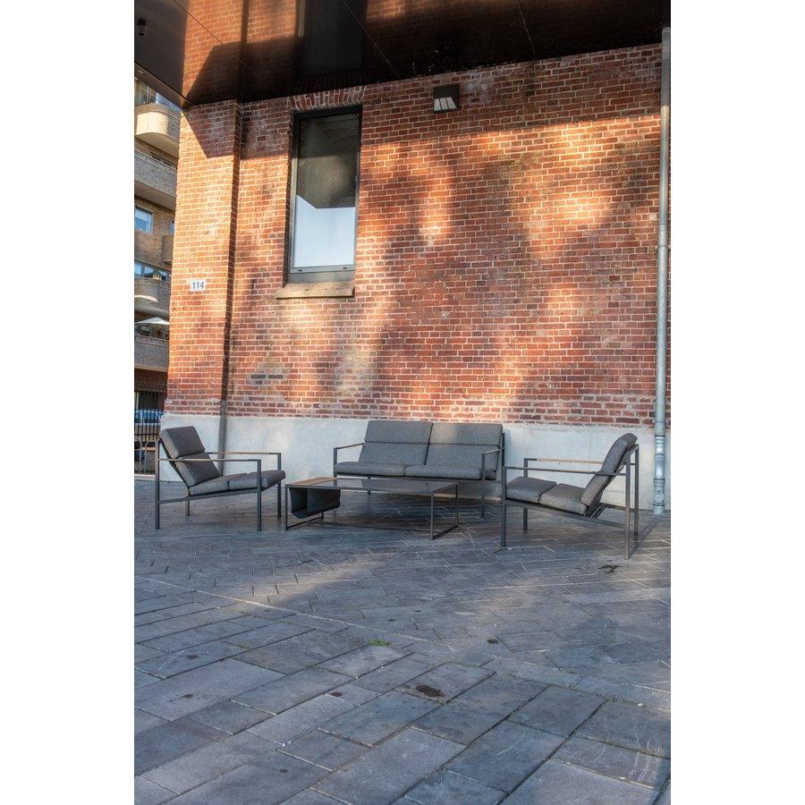 Stoel-Bank Loungeset  - Trentino - Grijs/Antraciet - RVS/Teak/Keramiek - 4 Seasons Outdoor-8