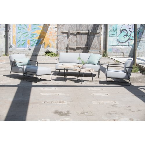 4 Seasons Outdoor Lounge Tuinbank - Coast - Lichtgrijs - RVS/Teak - 4 Seasons Outdoor