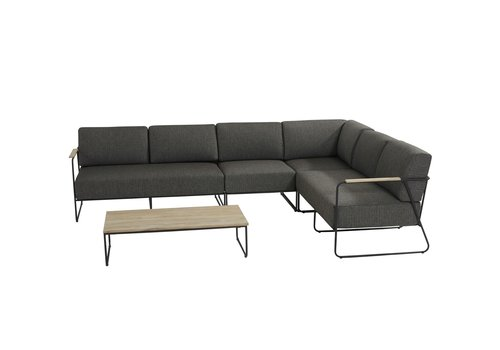 Hoek Loungeset  - Coast - 6 Zits - Antraciet - RVS/Teak - 4 Seasons Outdoor