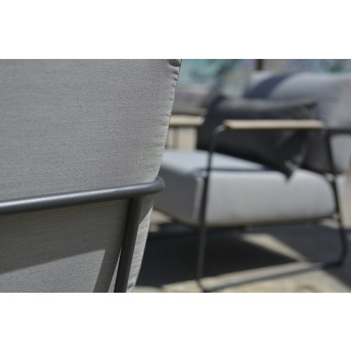 4 Seasons Outdoor Stoel-Bank Loungeset  - Coast - Lichtgrijs - RVS/Teak - 4 Seasons Outdoor