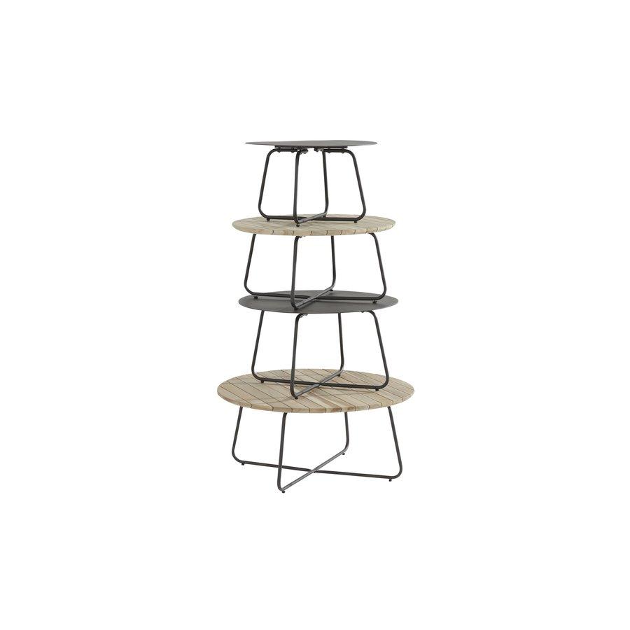 Bijzettafel Tuin - Dali - Ø 73 cm - Antraciet - Aluminium / RVS - 4 Seasons Outdoor-4