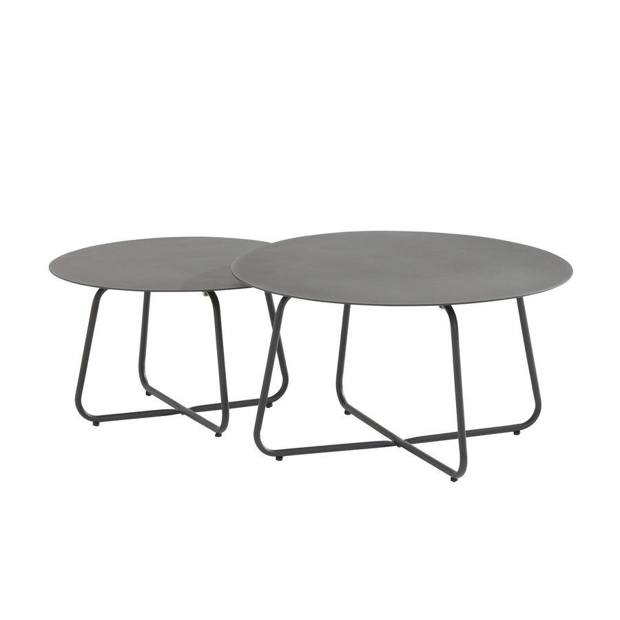 Bijzettafel Tuin - Dali - Ø 73 cm - Antraciet - Aluminium / RVS - 4 Seasons Outdoor-3