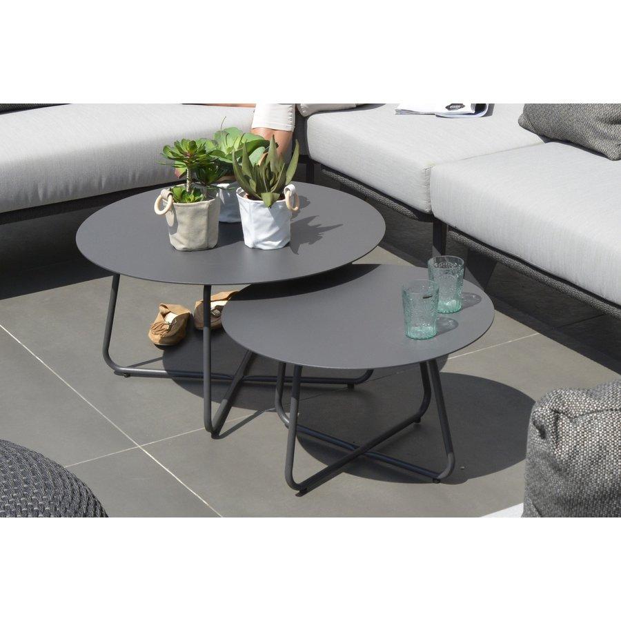 Bijzettafel Tuin - Dali - Ø 58,5 cm - Antraciet - Aluminium / RVS - 4 Seasons Outdoor-6