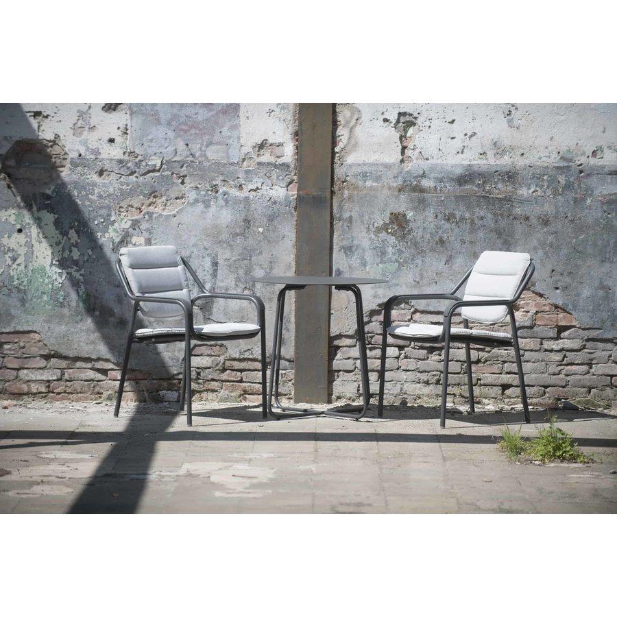 Bijzettafel Bistro Tuin - Dali - Ø 73 cm - Antraciet - Aluminium / RVS - 4 Seasons Outdoor-3