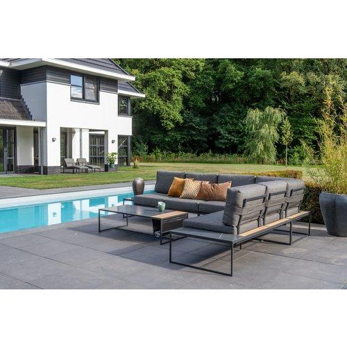 4 Seasons Outdoor Bijzettafel Tuin - Atlas - Zwart - Keramiek / Teak - 4 Seasons Outdoor
