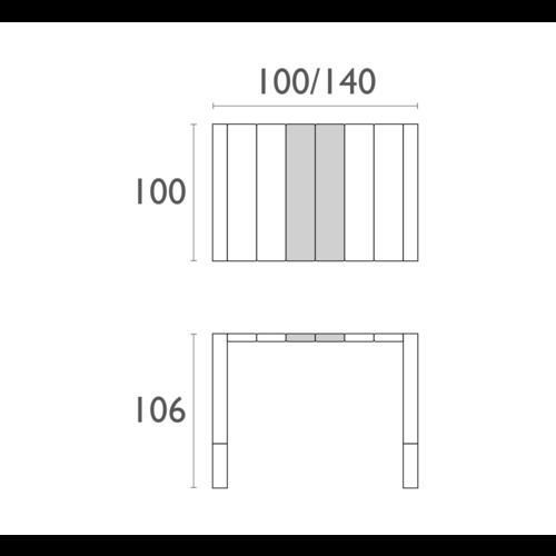 Siesta  Bartafel - Vegas - Donkergrijs - Uitschuifbaar 100/140 cm - Siesta